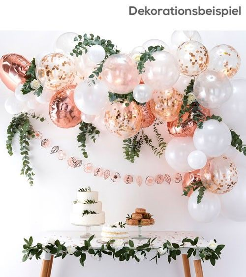 "Ballongirlanden-Set ""Farbmischung Rosegold"" – 70-tlg   – Florale Brautparty"