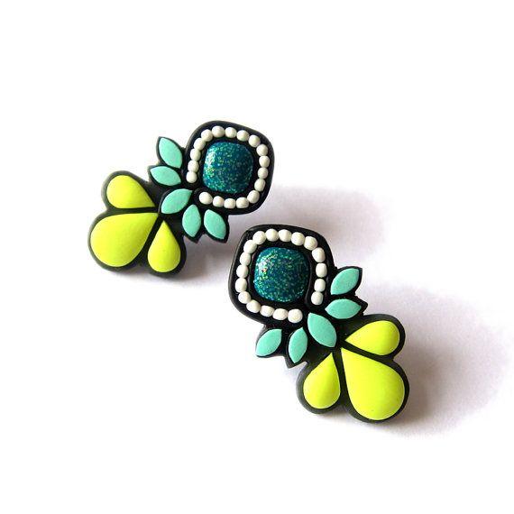 Polymer Clay Earrings, Modern Gems Neon Color Earrings, Statement Bold Big Stud Earrings, Yellow Mint Emerald Black Mini Stud Fimo Earrings