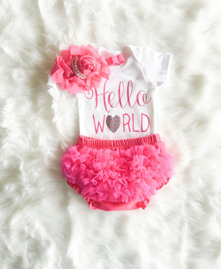 Baby Shower Gift Hello World Pink and glitter Newborn Hospital Coming Home Arrival Outfit Baby Girl Infant