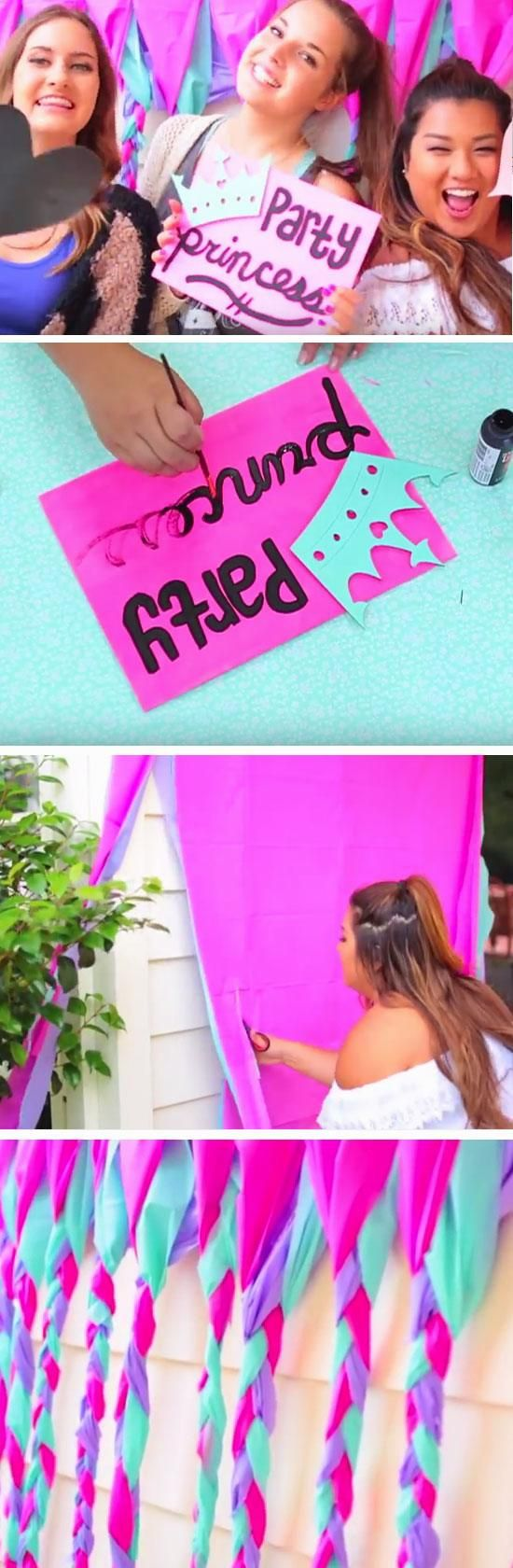 Pink + Blue Photo Booth | DIY Summer Party Ideas for Kids