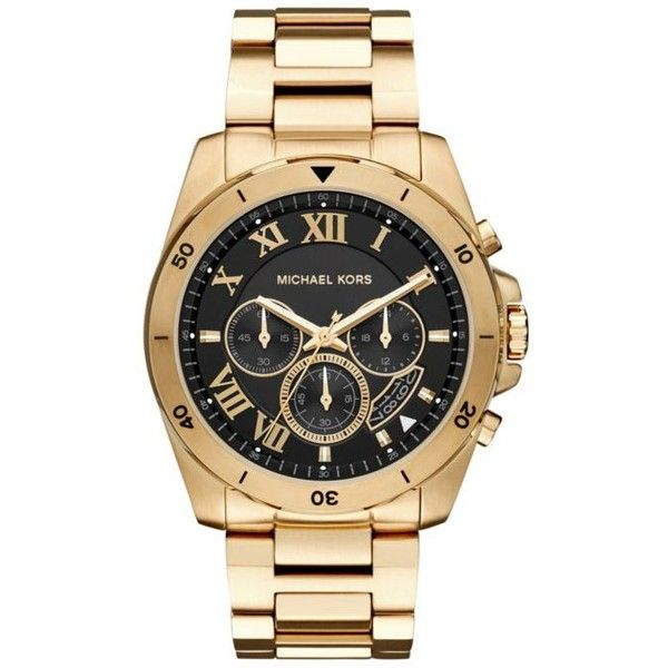 Michael Kors Black Mens Gold-Tone Brecken Black Dial Watch ($295) ❤ liked on…