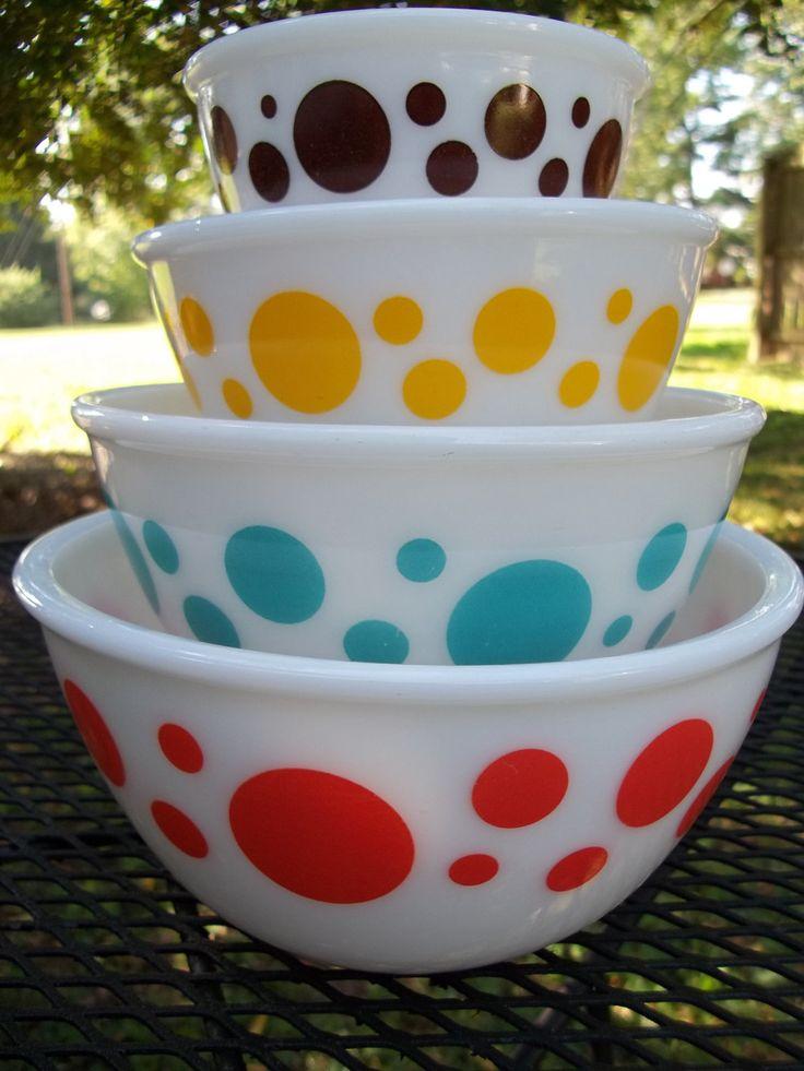 Vintage Hazel Atlas Polka Dot Mixing Bowls. Perfection.