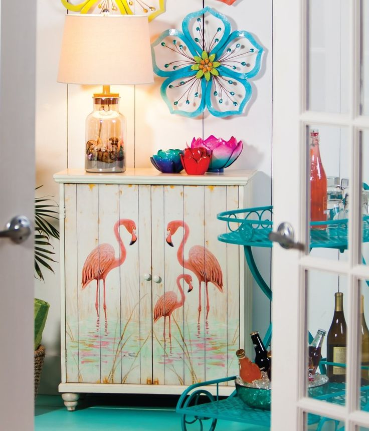 storage furniture two doorcabinet with flamingo art for storing anything you want stack beach towels and beach items keeping things off the floor and