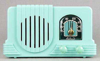 RARE Addison #2 1940 Waterfall Deco MINT GREEN Bakelite Plaskon Tube Radio- RARE