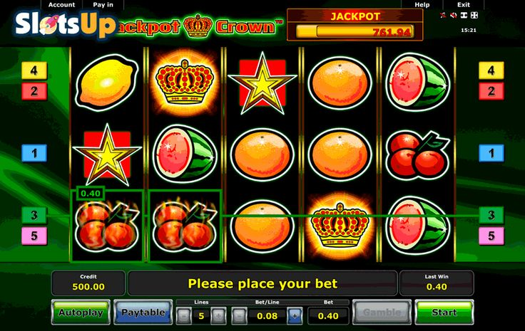 Time to hit the jackpot with Jackpot Crown from Novomatic. This is a high quality 5 reels #freeslot with 5 paylines. The game has such features as progressive jackpot and scatter symbol. Fruit symbols are drawn extremely well.