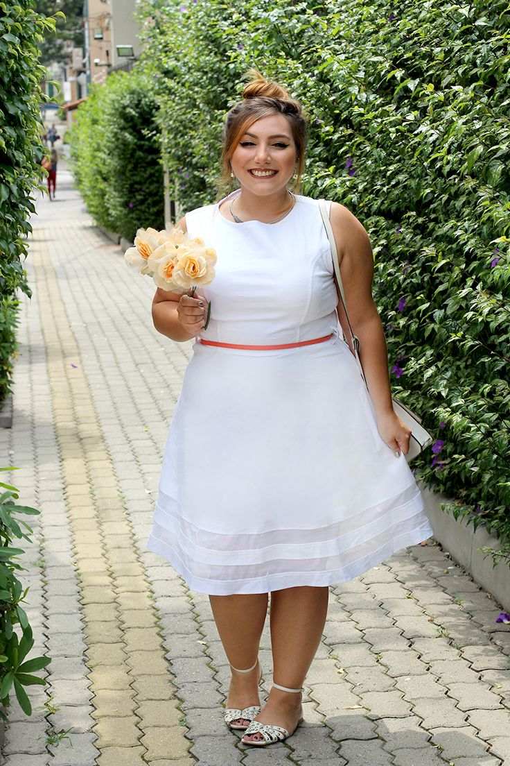 Meu vestido plus size branco para casamento civil ♥ | Fashion, Fashion dresses, Plus size fashion