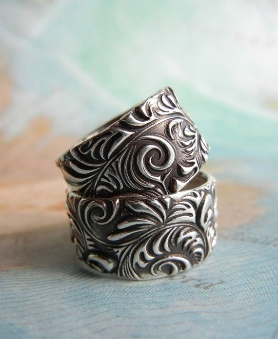 Custom Silver Wedding Rings by HappyGoLicky Jewelry   CLICK & SAVE 10% now with coupon code PIN10 #handmade #custom #sterlingsilver