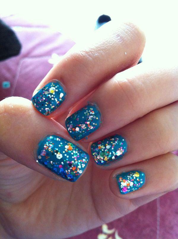 Rainbow And Teal.: Nails Inspiration, Nails Boards, Nails Art, Makeupbodi Art, Teal Glitter, Nails Polish, Nail Art, Cute Nails Design, Nails 3