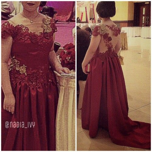 Blood Red Gown with Illusion Mesh and Red & Gold Lace Appliqués by @nadia_ivy