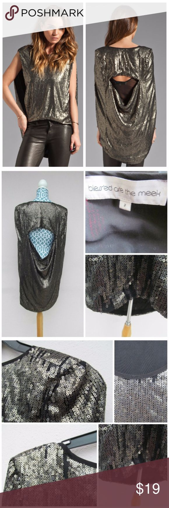 Blesse'd Are The Meek Avant Garde Sequins Top Retails over $170! Tag says size 2 but it's AU sizing so following their size chart it is a US6. Holographic sequins adorn the noise. Definitely an eye catcher with side slits and an open back. Hundreds of sequins line the blouse, there are some missing so please refer to pics but besides that this is a beautiful blouse :) Blesse'd Are The Meek Tops