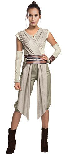 Rey costume includes deluxe top, elastic waist pants, detached sleeves, cuff, and belt with pouch Note: costumes are sized differently than clothing, important to review the Rubie's Adult size chart and measure before selecting size Officially licensed Star Wars costume, only items shipped and sold by Amazon can be guaranteed authentic