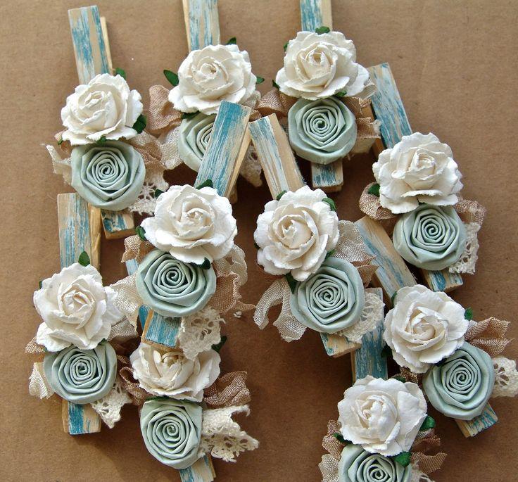 Shabby Chic decorative clothespins Set of 8 clothing pegs CUSTOM wedding place card holder. $18.00, via Etsy.