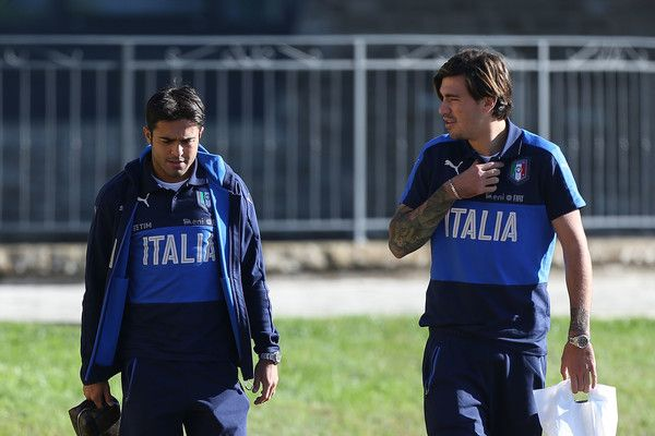 Eder and Alessio Romagnoli (R) of Italy during the training session at Coverciano on October 5, 2016 in Florence, Italy.