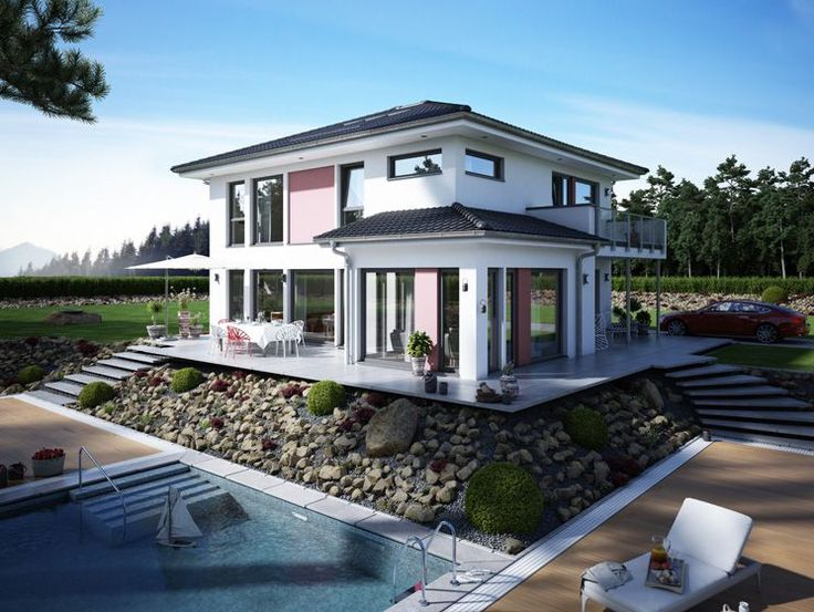 fassadenfarbe beispiele gestaltung bungalow. Black Bedroom Furniture Sets. Home Design Ideas