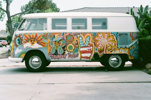 Painted VW Bus...this is why we will probably never own one, I would sneek in the garage and do this!