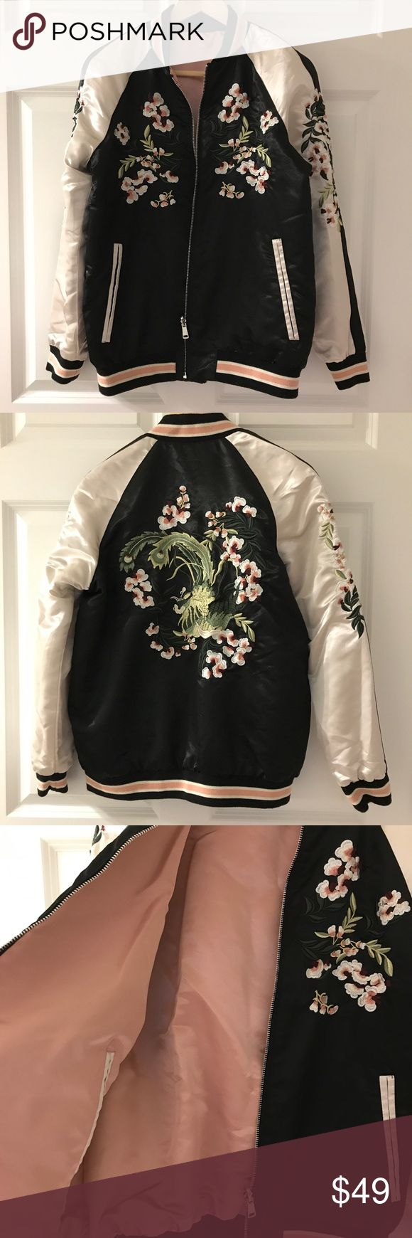 Stradivarius Embroidery Baseball Jacket Gently worn. In a good condition. Two-sided. stradivarius Jackets & Coats
