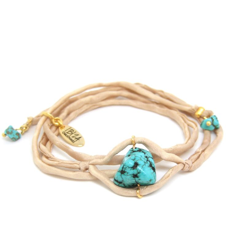 Sky And Sand Zijde Wikkel Armband Edelsteen ♡ available at www.ibizamusthaves.nl