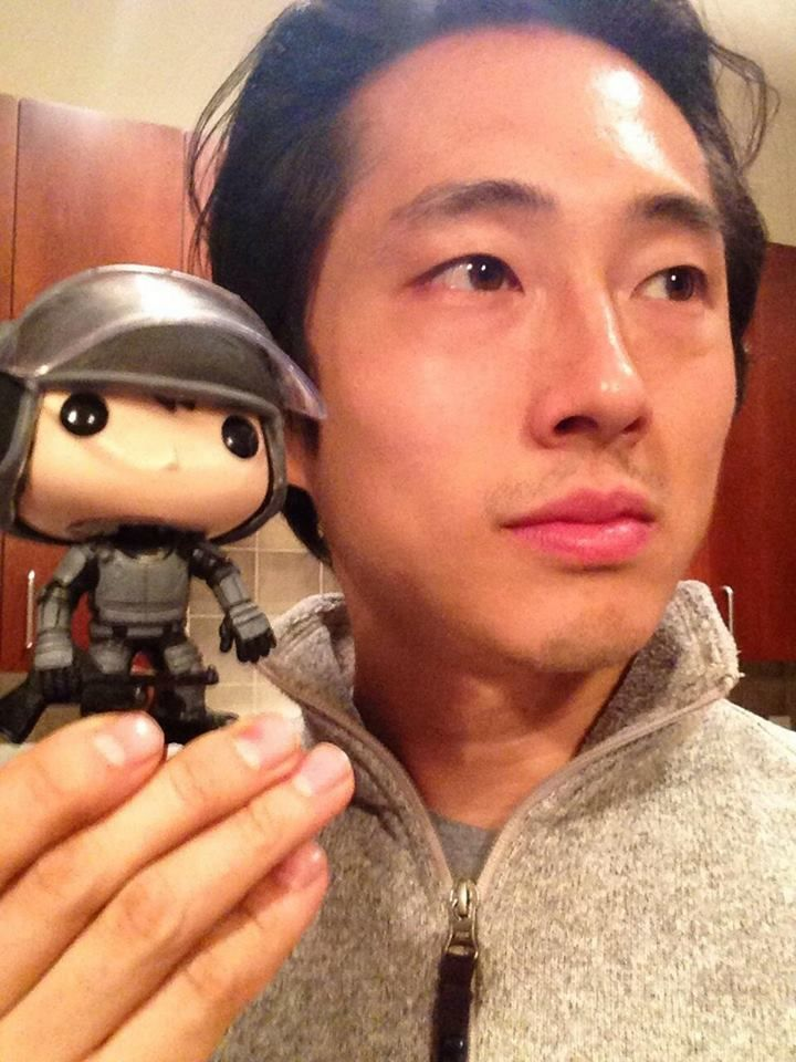 Steven Yuen, cute! he has a little play toy!! Adorable!!!!!!!!!!!!!