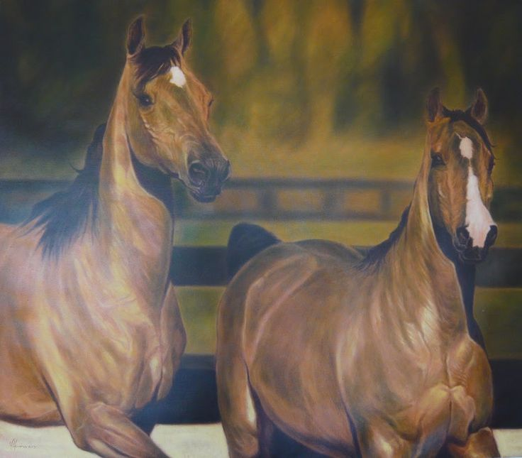 """Two Thoroughbreds"" Original Oil on Canvas by Yasiel Palomino Pérez 53"" x 47"" SOLD"