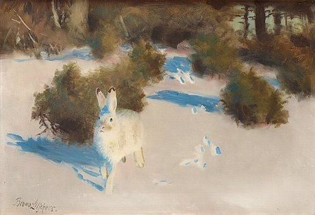 BRUNO LILJEFORS 1860-1939, Hare i vinterlandskap