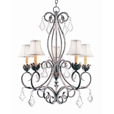 2nd Ave Design Felicia 5 Light Shaded Chandelier Finish: Antique Iron Gate, Shade: Cream Trumpet