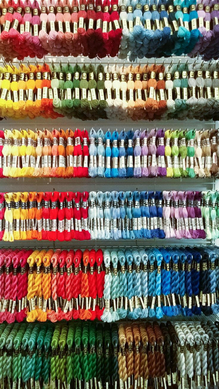 Stunning DMC Tapestry Wool, DMC Soft Cotton, DMC Special Embroidery threads and DMC Cotton Pearl threads.