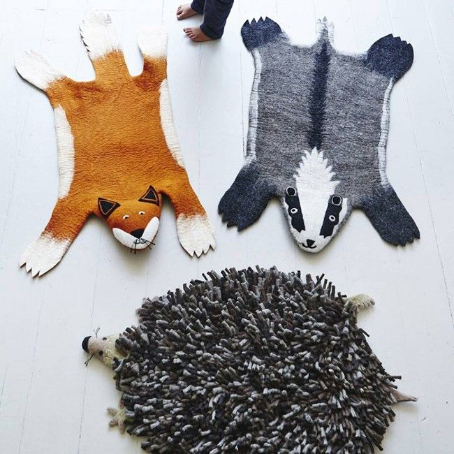 Animal Felt Rugs - hedgehogs, badgers and foxes, oh my
