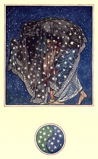 """The Garden of Kama and Other Love Lyrics from India: illustrated by Byam Shaw. """"For a thousand years 'neath a thousand skies, Night has brought men Love"""""""