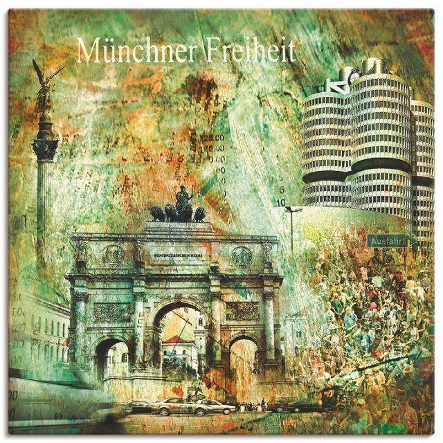 Leinwandbild »Nettesart: München Skyline Abstrakte Collage 03«