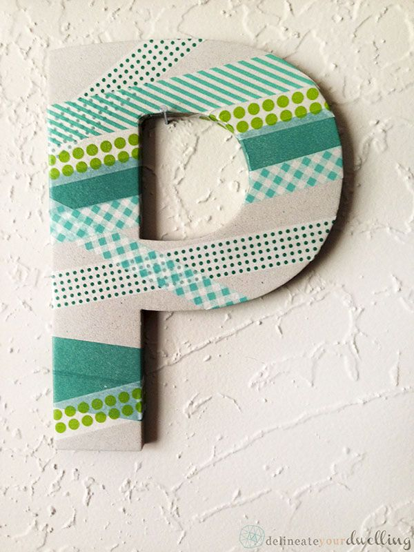 See how to make this simple Washi Tape Letter P wall decor! Delineateyourdwelling.com