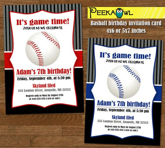 Printable Boys Baseball Birthday Invitation card  Boy by PeekaOwl