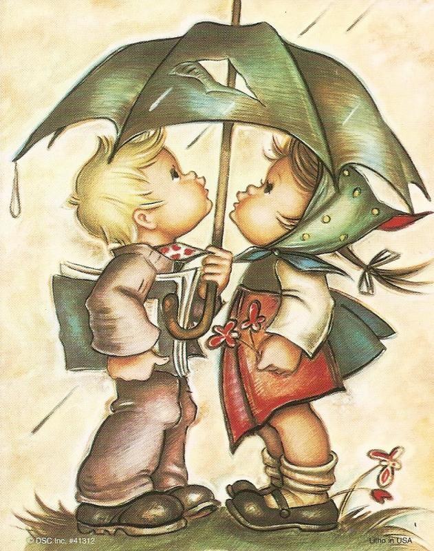 HL08  hummeltjes met paraplu (klein)  Tante Riet spaarde ze en had er veel ,wij kinderen vonden ze prachtig