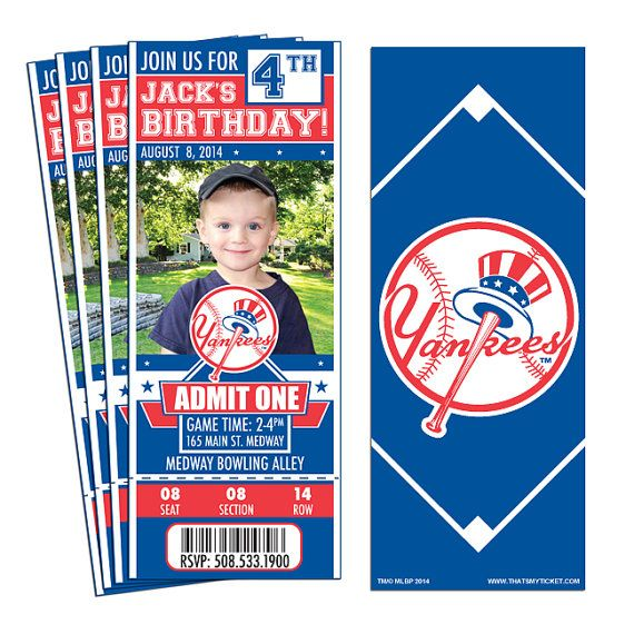 12 New York Yankees Birthday Party Ticket Invitations - Officially Licensed by MLB