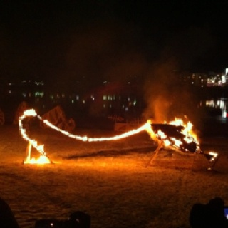 Enjoying fire art in freezing cold