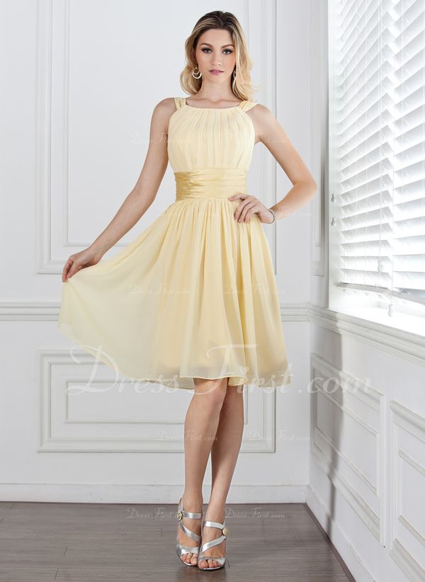 A-Linie/Princess-Linie U-Ausschnitt Knielang Chiffon Charmeuse Brautjungfernkleid mit Rüschen (007004142) - DressFirst