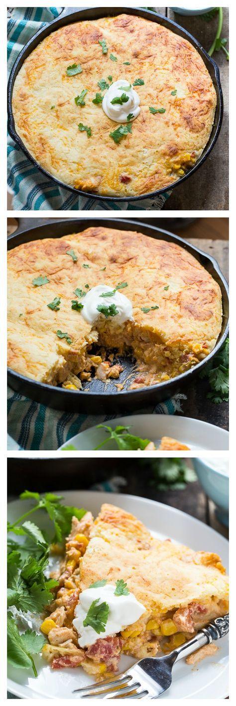 Mexican Chicken Cornbread Casserole - ready in only 30 minutes! Quick and easy recipe using rotisserie chicken, taco seasoning, cornbread mix, Rotel tomatoes, can corn, sour cream, and cheese.