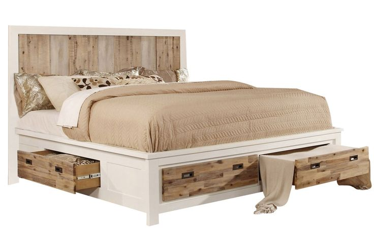 western queen bed with storage from gardner white