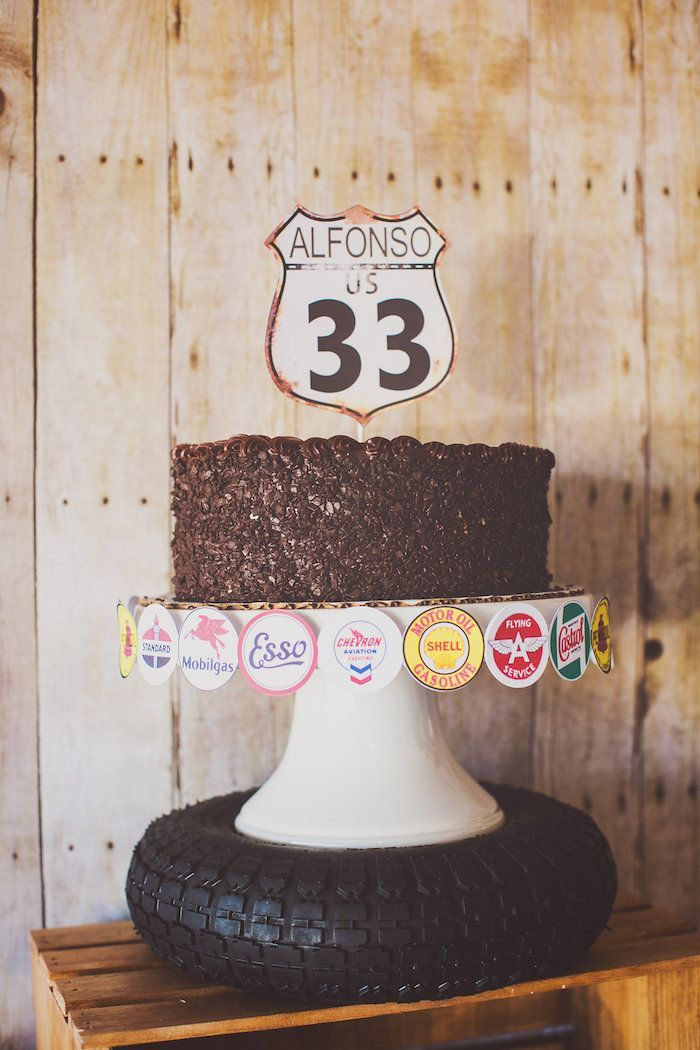 Cute cake at a Vintage Chevy + Auto Garage Themed Birthday Party via Kara's Party Ideas KarasPartyIdeas.com Cake, decor, printables, tutorials, giveaways and more! #carparty #vintagecarparty #vintagechevy #chevycar #chevycarparty #autoshopparty #vintageautoshop #autogarage #vintageautogarageparty #karaspartyideas (53)