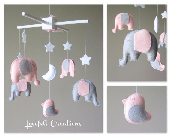 Baby crib mobile - Baby mobile - Elephant Mobile - Mobile - Nursery Mobile - CUSTOMIZE....You can pick colors too :)