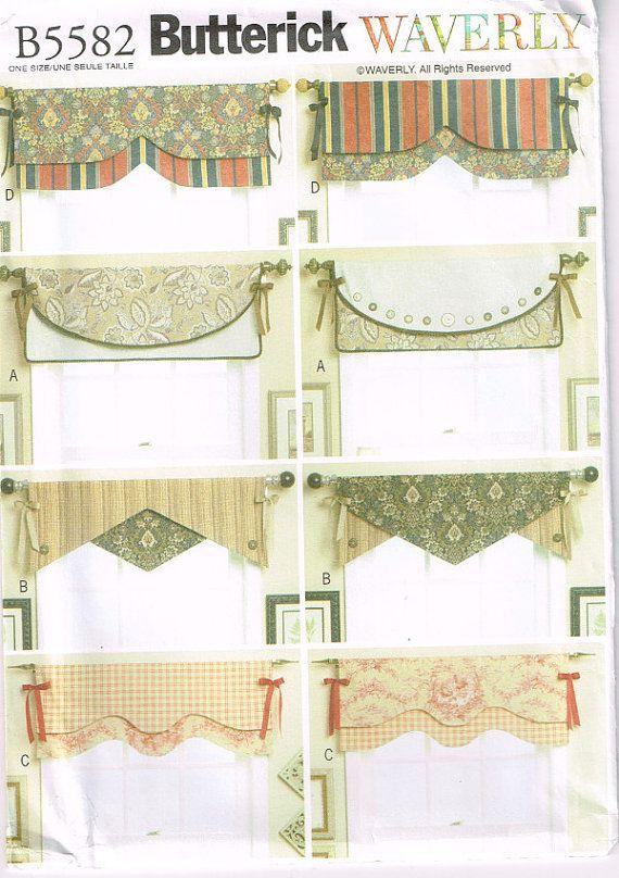 5582 Butterick   nouveau réversible fenêtre cantonnières Patterns par Demi, $8.00