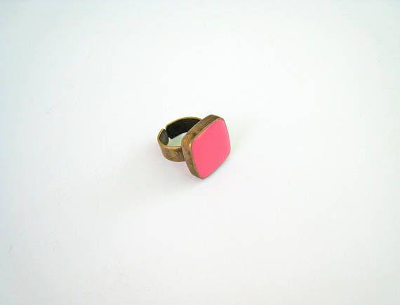 Pink statement ring bronze pink ring pastel rose baby pink