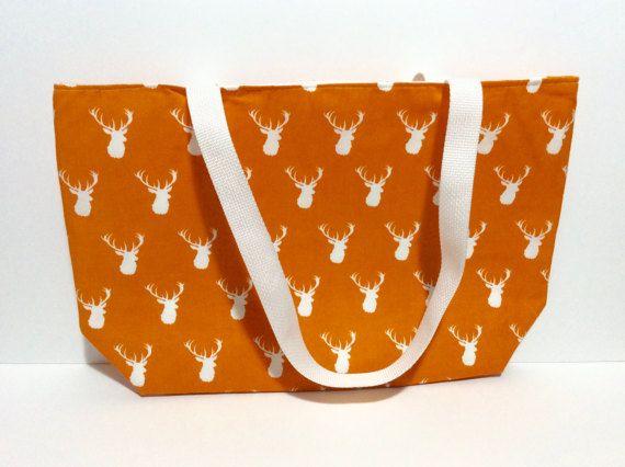 Tote Bag Tote Deer Stag Bag Antlers  Orange Tote School