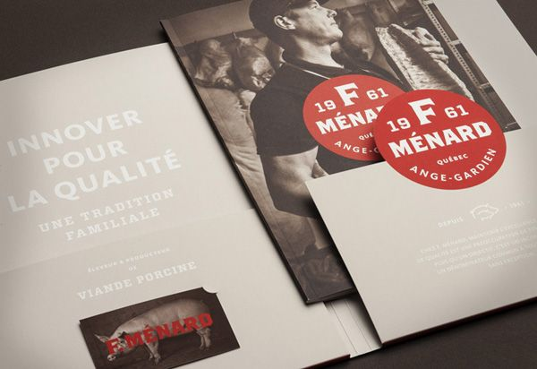 Logo, folder and brochure for Canadian pork producer and family run butcher F. Ménard designed by lg2boutique.