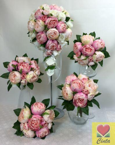 Artificial-flower-pink-Light-pink-peony-teardrop-bridal-wedding-bouquet-set