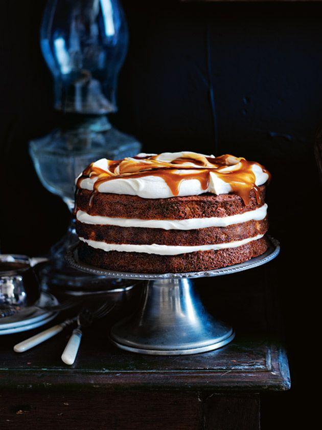 banana layer cake with honey cream and whisky caramel