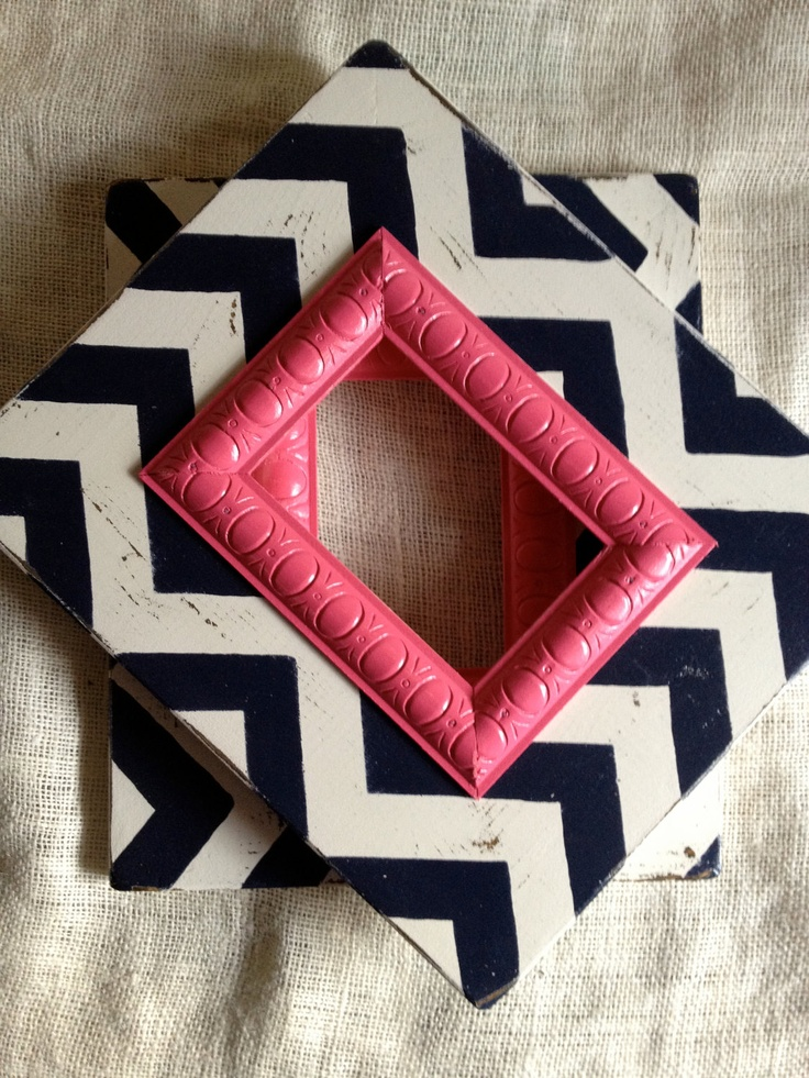 5x7 Chevron picture frame set in white navy blue and hot pink.