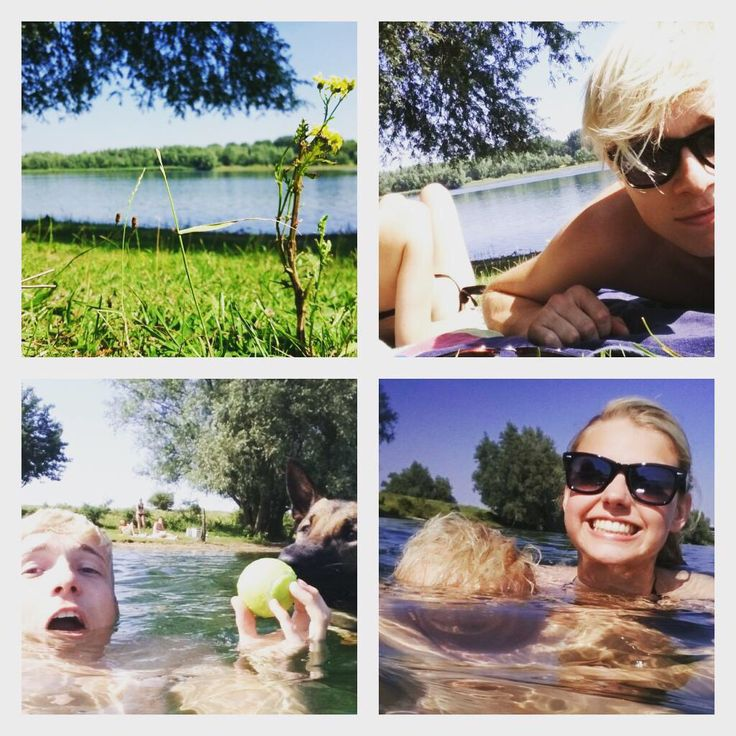 Robin 10 juli aan het zwemen met Britt