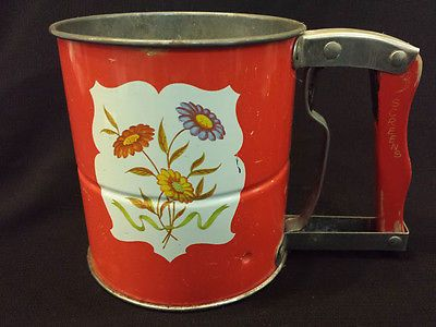 Midcentury Flour Sifter - Floral Decal Androck - Hand-i-Siff
