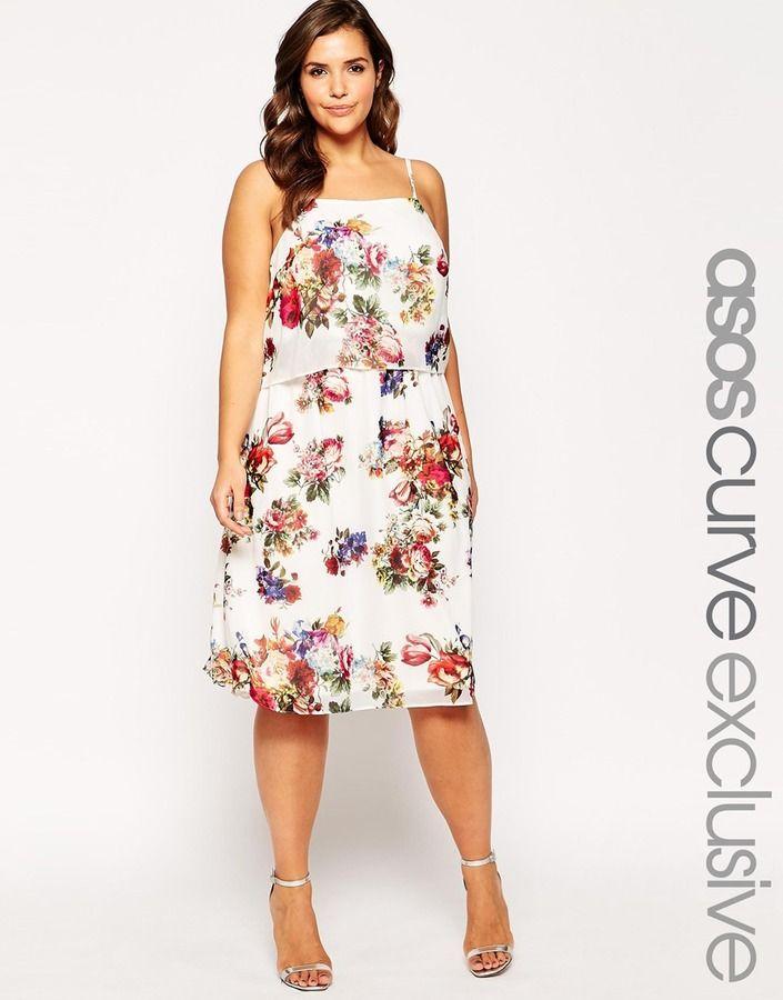 Plus Size ASOS CURVE Double Layer Midi Dress In Floral Print