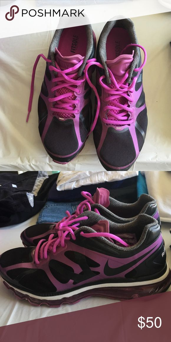 Womens Nike Air Max, too big worn once Purple and black women air max Nike Shoes Athletic Shoes
